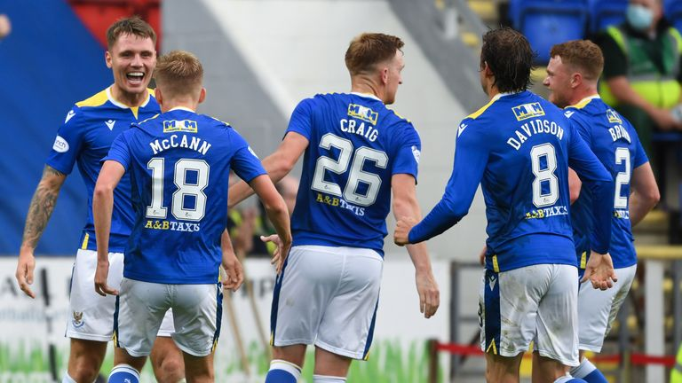 St Johnstone's Jason Kerr (L) celebrates after his header is turned into his own net by Galatasaray goalkeeper Ismail Cipe