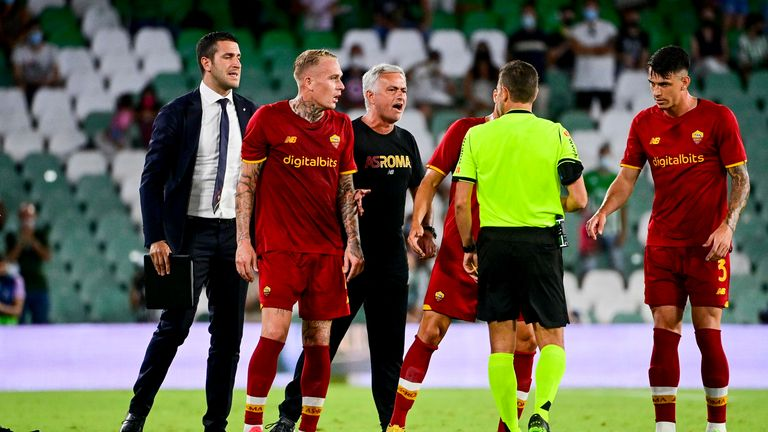 Mourinho was sent off following a confrontation with the referee