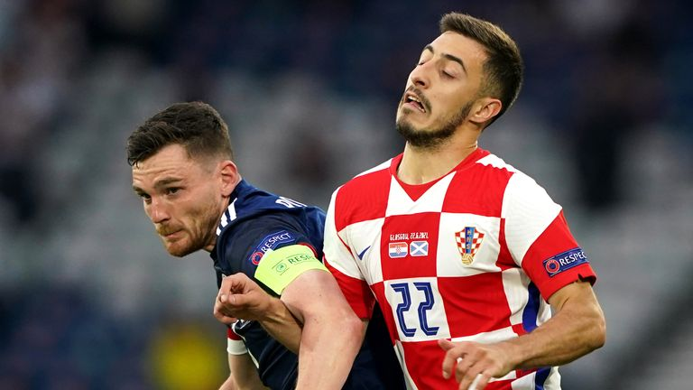 Josip Juranovic (right) in action for Croatia against Scotland captain Andy Robertson at Euro 2020