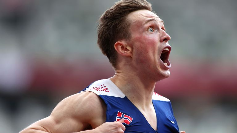 Karsten Warholm reacts after winning the men's 400m hurdles final