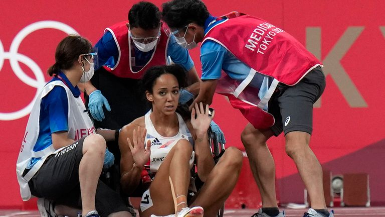 Johnson-Thompson refuses medical help after dropping to the track in the 200m event in the heptathlon
