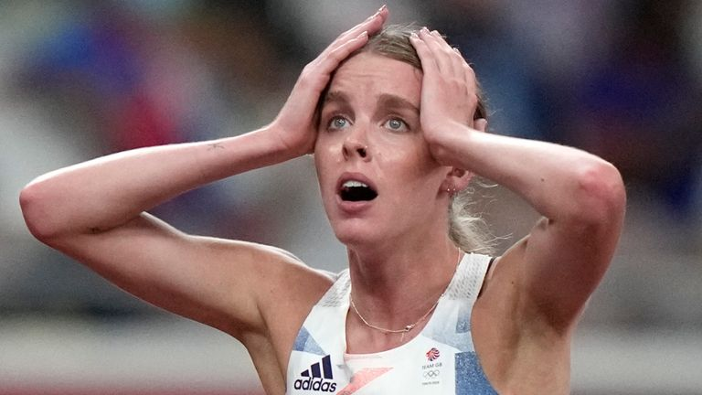 Keely Hodgkinson reacts after her second place finish in the final of the women's 800m. (AP Photo/David Goldman)