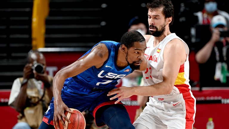 Kevin Durant drives against Spain's Sergio Llull