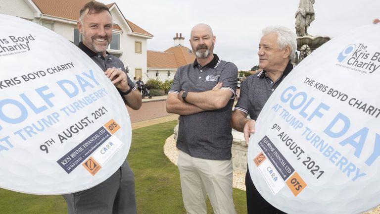 Kris Boyd, Steve Clarke and Kevin Keegan at the annual Kris Boyd Charity golf day