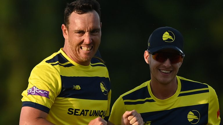 Kyle Abbott (left) took 5-43 as Hampshire eased to victory over Worcestershire in Southampton