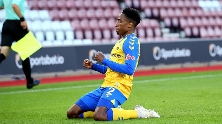 Southampton's Kyle Walker-Peters celebrates scoring their side's first goal of the game during the Pre-Season Friendly match at St Mary's Stadium,