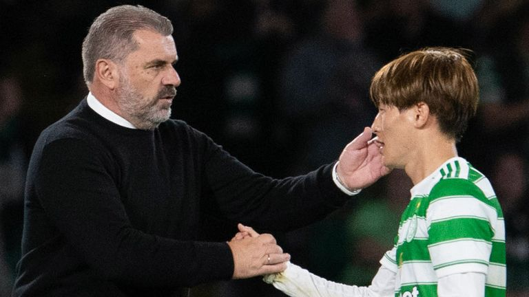 GLASGOW, SCOTLAND - AUGUST 18: Celtic's Kyogo Furuhashi (R) and manager Ange Postecoglou during a UEFA Europa League qualifier between Celtic and AZ Alkmaar at Celtic Park, on August 18, 2021, in Glasgow, Scotland. (Photo by Ross Parker / SNS Group)