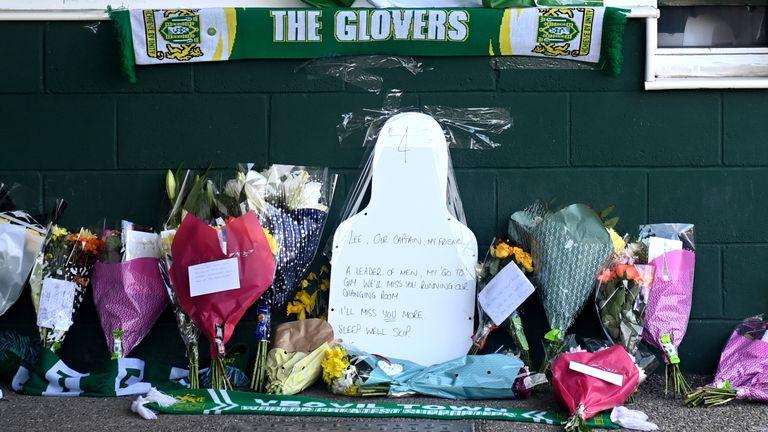 Lee Collins tributes at Huish Park, Yeovil
