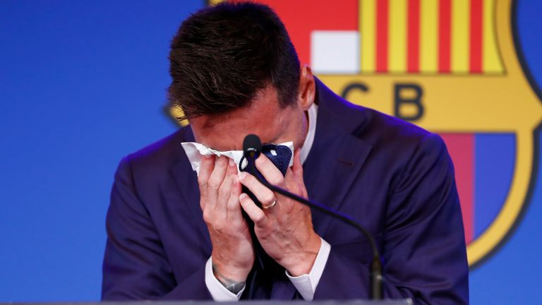 Messi tears at press conference