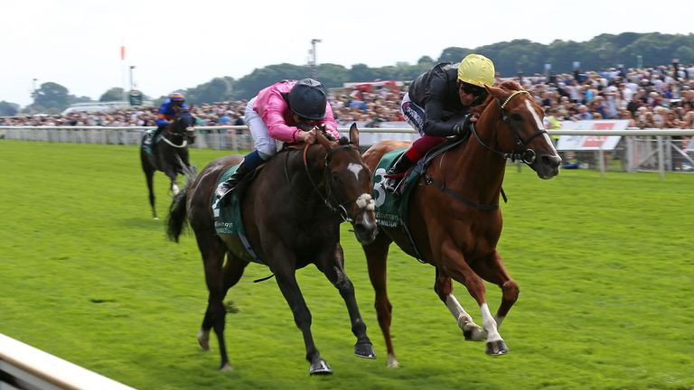 Spanish Mission, left, is beaten by Stradivarius in a thrilling finish to the Lonsdale Cup at York