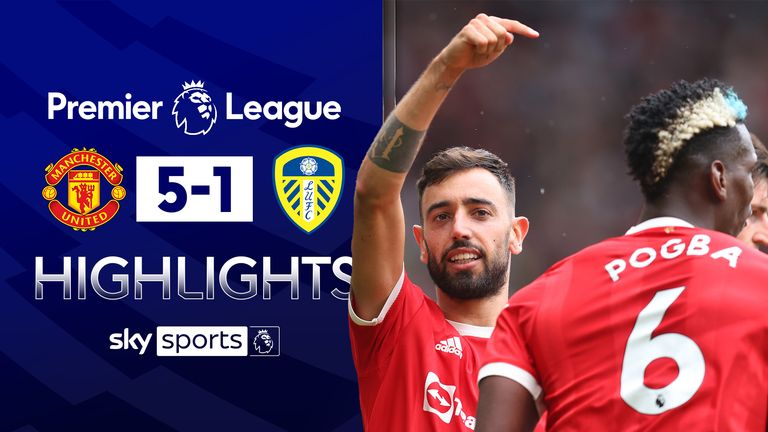 Fernandes scores hat-trick as Utd thrash Leeds