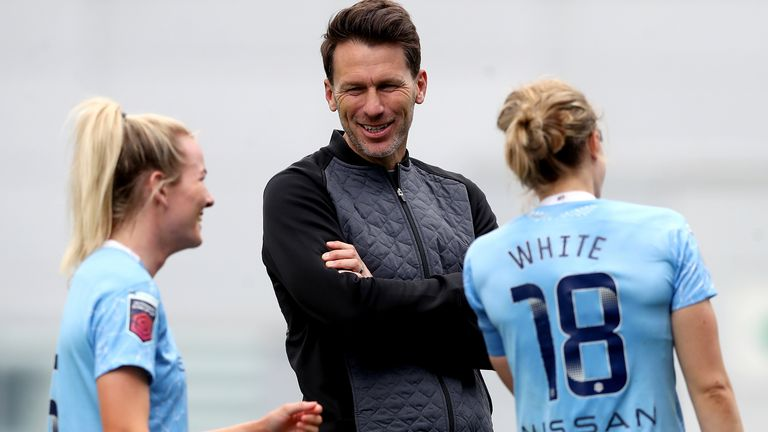 Manchester City, managed by Gareth Taylor (centre), are playing in the Women's Champions League for the sixth successive season