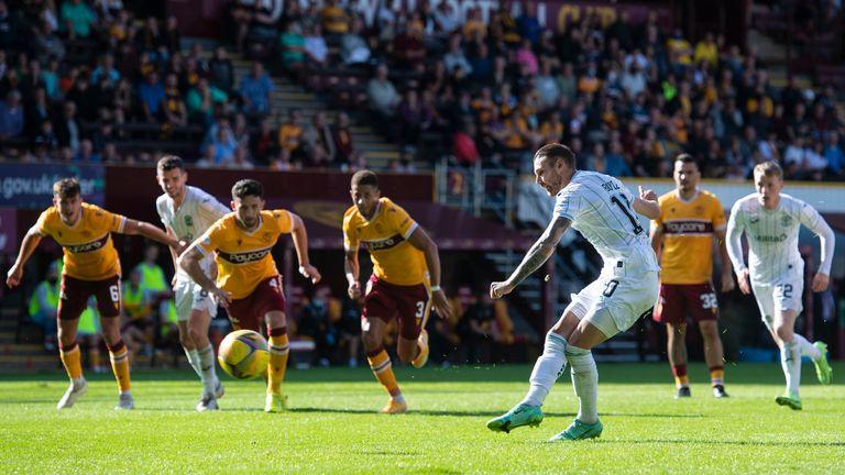 Hibernian's Martin Boyle scores a penalty at Fir Park