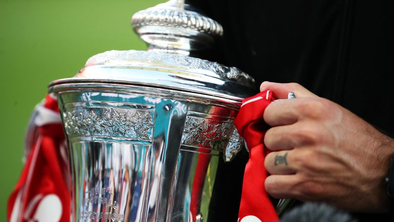 PA - Close up of men's FA Cup trophy
