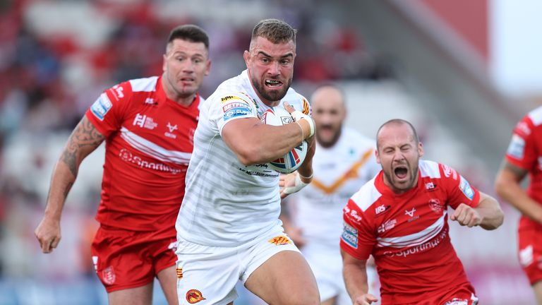 Mike McMeeken on the charge for the Dragons
