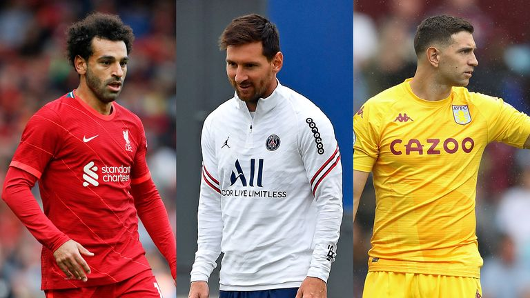 Mohamed Salah, Lionel Messi and Emiliano Martinez