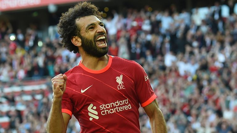 Mohamed Salah celebrates his equaliser late in the first half