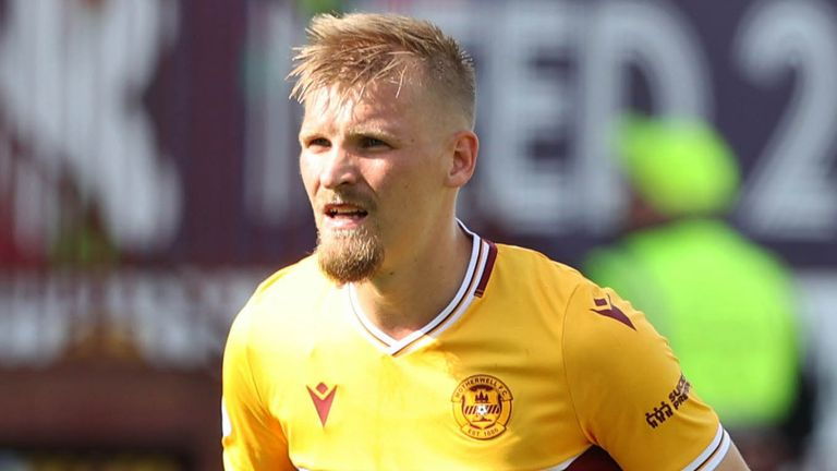 MOTHERWELL, SCOTLAND - AUGUST 28: Motherwell's Juhani Ojala during a cinch Premiership match between Motherwell and Dundee at Fir Park, on August 28, 2021, in Motherwell, Scotland (Photo by Craig Williamson / SNS Group)