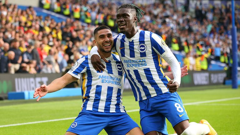 Neal Maupay celebrates with team-mate Yves Bissouma after doubling Brighton's lead (Paul Terry/CSM via ZUMA Wire)