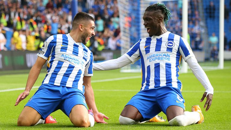 Neal Maupay and team-mate Yves Bissouma celebrate as Brighton double their lead at the Amex (Paul Terry/CSM via ZUMA Wire)