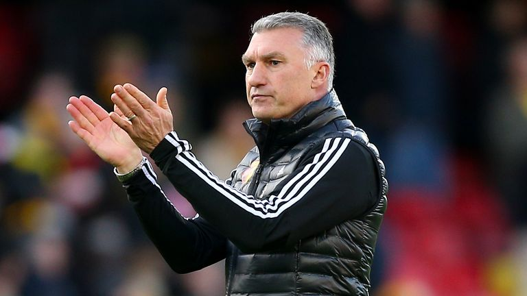 PA - Watford manager Nigel Pearson applauds the fans after the final whistle of the Premier League match at Vicarage Road