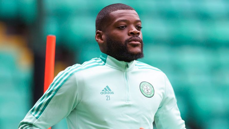 GLASGOW, SCOTLAND - JULY  26: Olivier Ntcham during a Celtic training  session at Celtic Park, on July 26, 2021, in Glasgow, Scotland. (Photo by Craig Williamson / SNS Group)