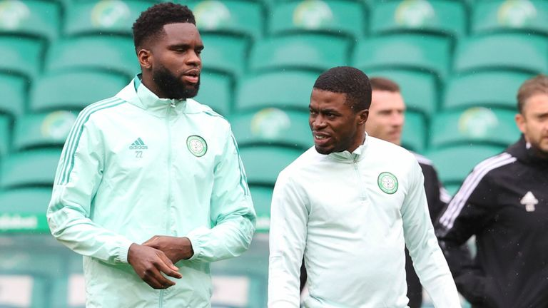 Odsonne Edouard and Ismaila Soro prior to the SPFL match between Celtic and St Mirren at Celtic Park