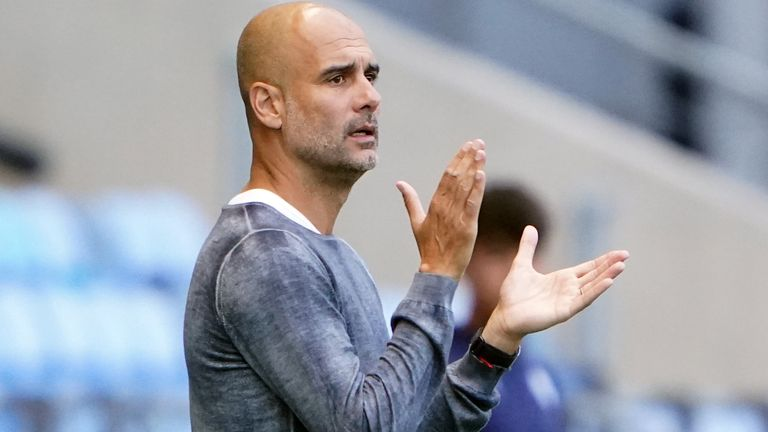Manchester City manager Pep Guardiola during the pre-season friendly match at the Academy Stadium, Manchester. Picture date: Tuesday July 27, 2021.