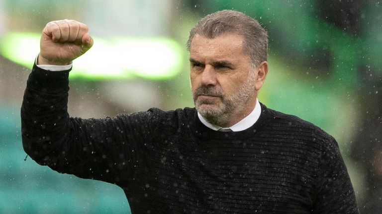 GLASGOW, SCOTLAND - AUGUST 08: Celtic manager Ange Postecoglou at full time during a cinch Premiership match between Celtic and Dundee at Celtic Park, on August 08, 2021, in Glasgow, Scotland. (Photo by Craig Williamson / SNS Group)