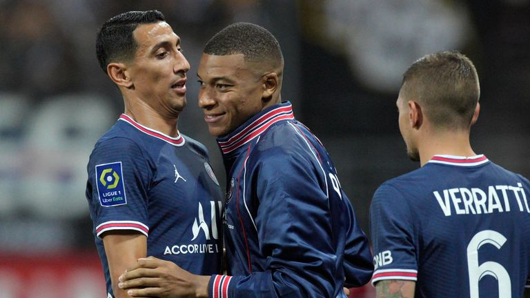Angel  Di Maria and Kylian Mbappe scored once each in PSG's 4-2 win