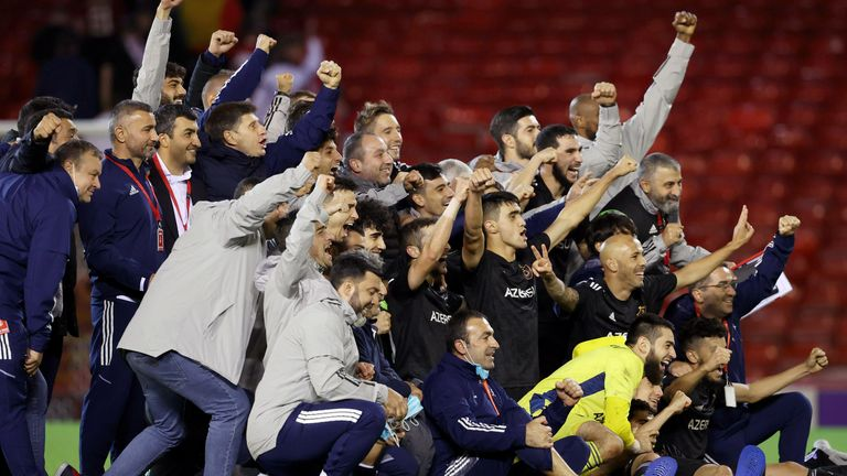ABERDEEN, SCOTLAND - AUGUST 26 : The Qarabag players celebrate at full time during a UEFA Conference League Qualifier 2nd Leg between Aberdeen and Qarabag at Pittodrie , on August 26, 2021, in Aberdeen, Scotland. (Photo by Alan Harvey / SNS Group)