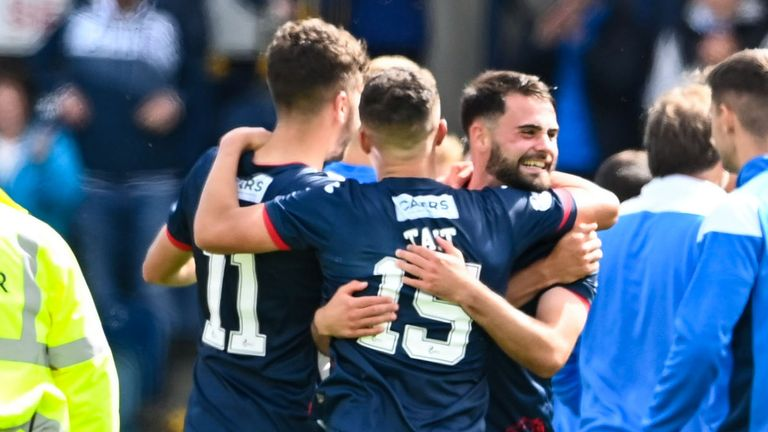 The Raith Rovers players celebrate at full time