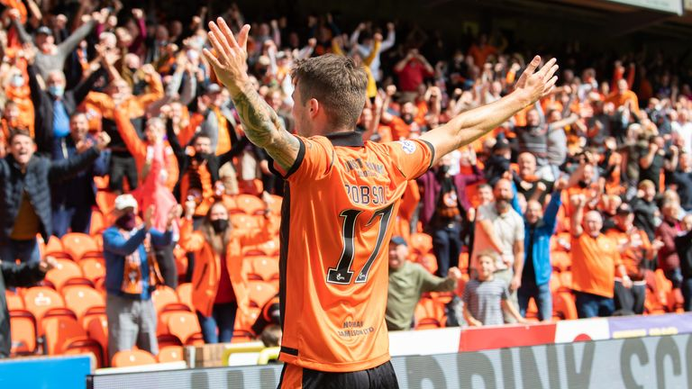 DUNDEE, SCOTLAND - AUGUST 07: Jamie Robson celebrates his goal to make it 1-0 Dundee United during a cinch Premiership match between Dundee United and Rangers at Tannadice, on August 07, 2021, in Dundee, Scotland (Photo by Ross Parker / SNS Group)