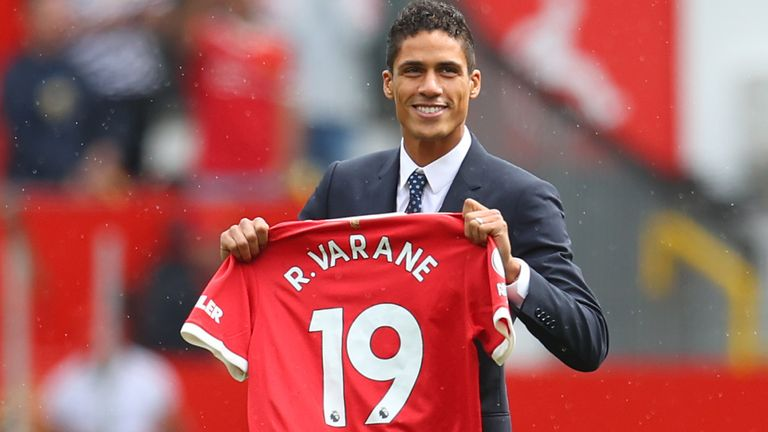 Raphael Varane is presented to fans at Old Trafford after signing for Manchester United