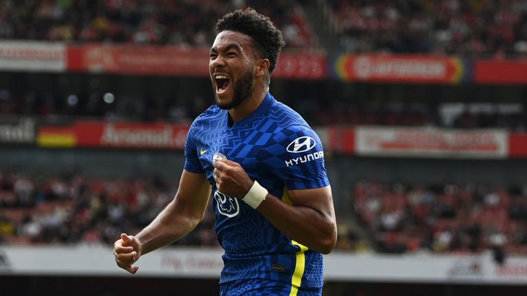 Reece James celebrates after scoring Chelsea's second goal against Arsenal