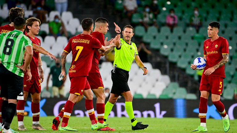 Roma finished the match with eight players