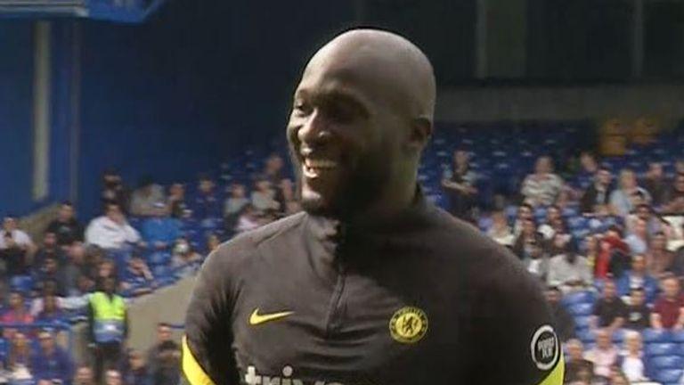 Romelu Lukaku trains with his Chelsea team mates at Stamford Bridge