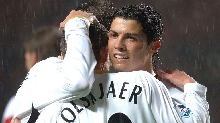 Manchester United's Ole Gunnar Solskjaer celebrates scoring the third goal with Cristiano Ronaldo