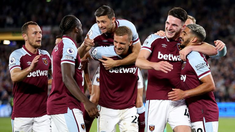 West Ham players celebrate after Said Benrahma put them 2-0 up against Leicester City