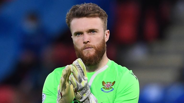 PERTH, SCOTLAND - AUGUST 12: St Johnstone's Zander Clark at full time during a UEFA Europa League 2nd Leg Qualifer between St Johnstone and Galatasaray at McDiarmid Park, on August 12, 2021, in Perth, Scotland. (Photo by Craig Foy / SNS Group)