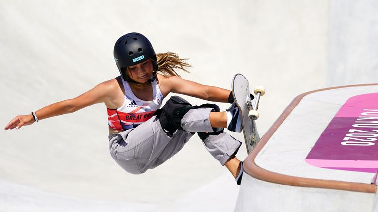 Great Britain's Sky Brown won an unprecedented bronze in the women's park skateboarding final