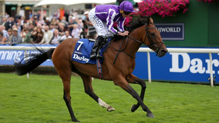 Snowfall and Ryan Moore coming home to win the Darley Yorkshire Oaks at York
