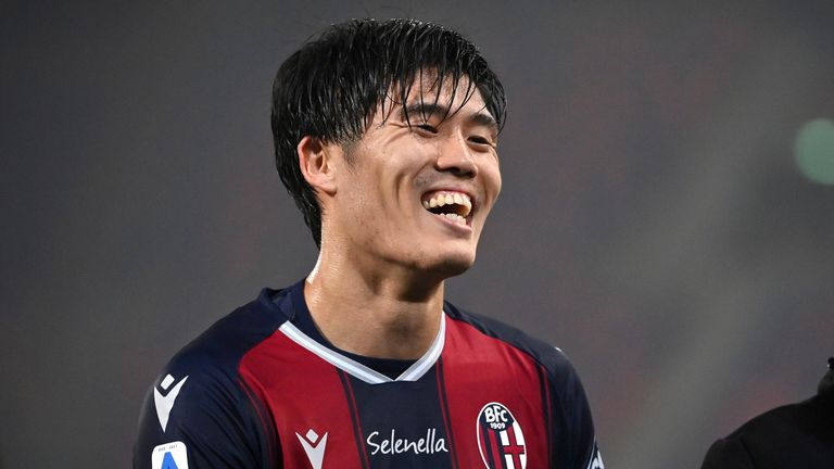 Bologna defender Takehiro Tomiyasu is attracting interest from Arsenal