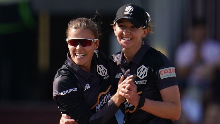 Manchester Originals captain Kate Cross (R) celebrates a wicket with Alex Hartley in The Hundred (PA Images)