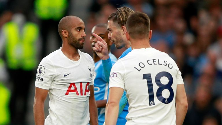 Lucas Moura confronts Grealish late on