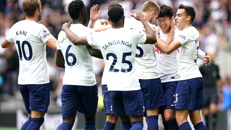 Heung-min Son celebrates his goal with team-mates