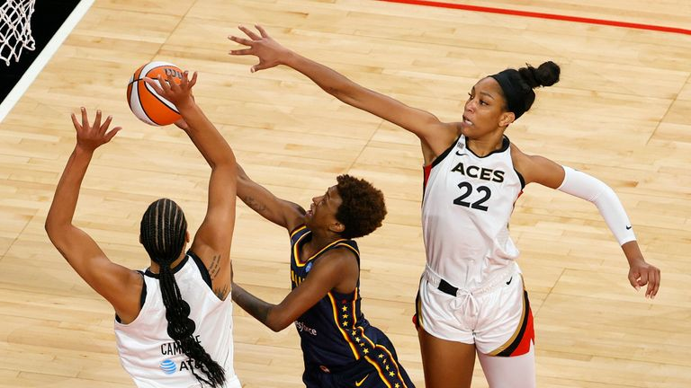 Liz Cambage and A'ja Wilson form a dominant frontcourt for the Las Vegas Aces
