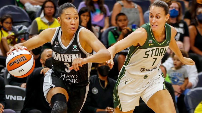 Minnesota Lynx guard Aerial Powers (3) works past Seattle Storm forward Stephanie Talbot (7) to the basket in the first quarter of a WNBA basketball game Tuesday, Aug. 24, 2021, in Minneapolis.