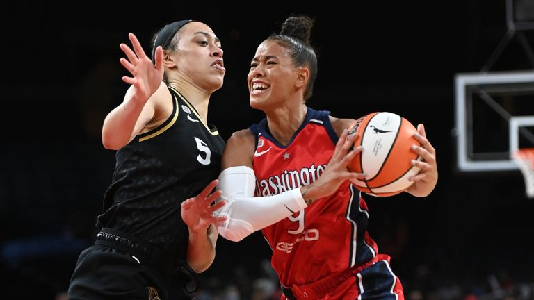 Natasha Cloud #9 of the Washington Mystics drives to the basket during the game against the Las Vegas Aces on August 15, 2021 at Michelob ULTRA Arena in Las Vegas, Nevada.