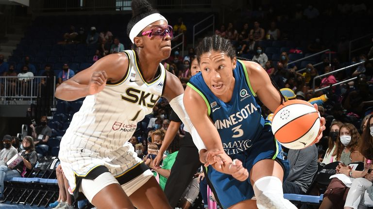 AUGUST 21: Diamond DeShields #1 of the Chicago Sky plays defense on Aerial Powers #3 of the Minnesota Lynx on August 21, 2021 at the Wintrust Arena in Chicago, Illinois.